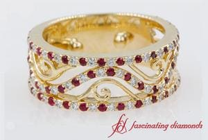 Ruby Filigree Wide Wedding Band