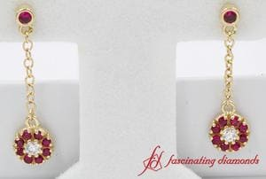 Ruby Halo Drop Dangle Diamond Earring In Gold