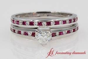 Ruby Heart Diamond Wedding Set In White Gold