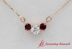 Ruby With Diamond 3 Stone Pendant in Rose Gold