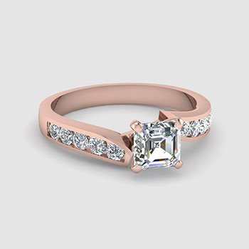 Asscher Shaped Side Stone Engagement Rings