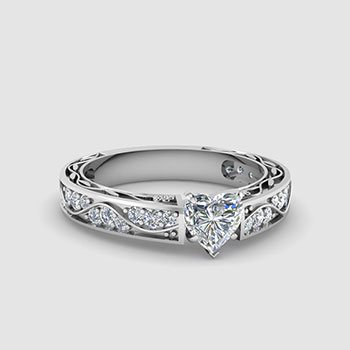 Heart Shaped Side Stone Engagement Rings
