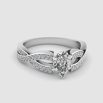 Pear Shaped Side Stone Engagement Rings