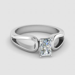 Radiant Shaped Solitaire Engagement Rings