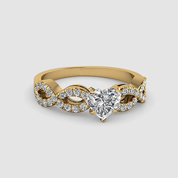 Split Shank Heart Cut Diamond Rings
