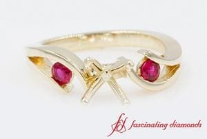 Semi Mount 3 Stone Ruby Ring