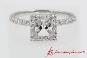 Stud Halo Engagement Ring In Platinum