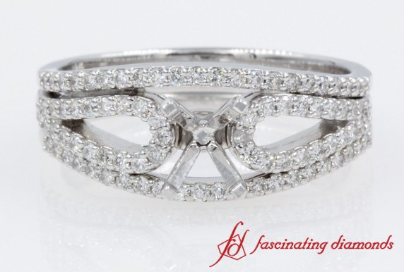 Loop Diamond Ring Setting With Two Band