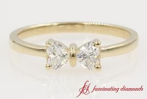 Simple 2 Heart Diamond Promise Ring For Women In Yellow Gold