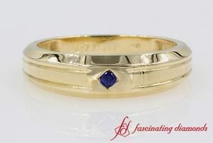 Single Sapphire Mens Wedding Band