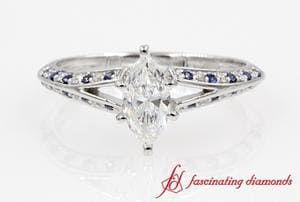 Split Marquise Diamond Ring With Sapphire In White Gold