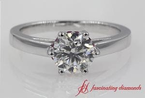 Studded Diamond 6 Prong Engagement Ring With Ruby In 18K White Gold