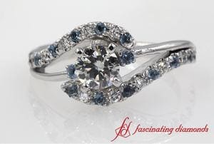 Swirl 3 Stone Diamond Engagement Ring In White Gold
