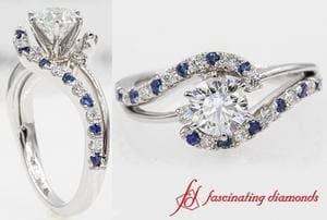 Swirl 3 Stone Round Cut Wedding Ring With Sapphire In Platinum