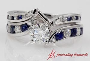 Swirl Channel Diamond & Sapphire Bridal Set In White Gold