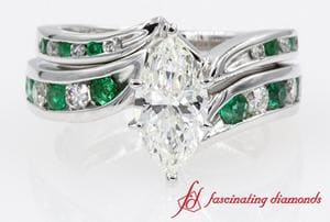 Marquise With Emerald Bridal Set
