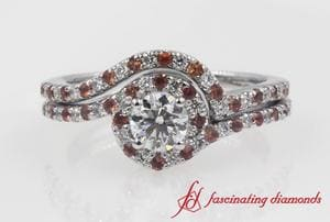 Swirl Halo Diamond Wedding Set