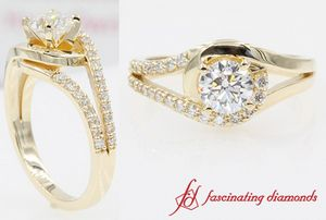 Swirl Split Round Diamond Engagement Ring In Yellow Gold
