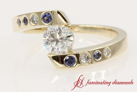 Tension Set Round Diamond Ring
