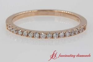 Thin Round Diamond Wedding Band In Rose Gold