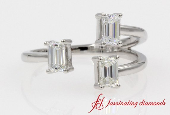 Three Emerald Cut Diamond Open Split Engagement Ring In White Gold