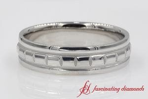 Traditional Milgrain Carved Mens Wedding Band In Platinum