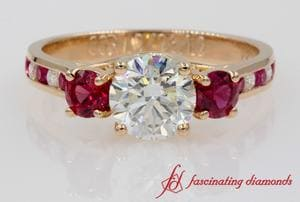 Trellis Channel Set Diamond Ring With Ruby In 18k Rose Gold