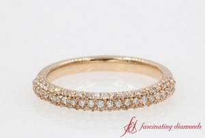 Trio Micropave Diamond Wedding Band In Rose Gold