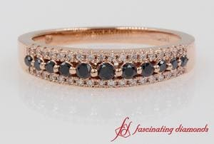 Triple Row Black & White Diamond Band In Rose Gold