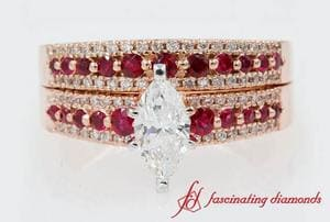 Triple Row Ruby Wedding Set