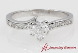 Twisted Channel Set Heart Diamond Engagement Ring