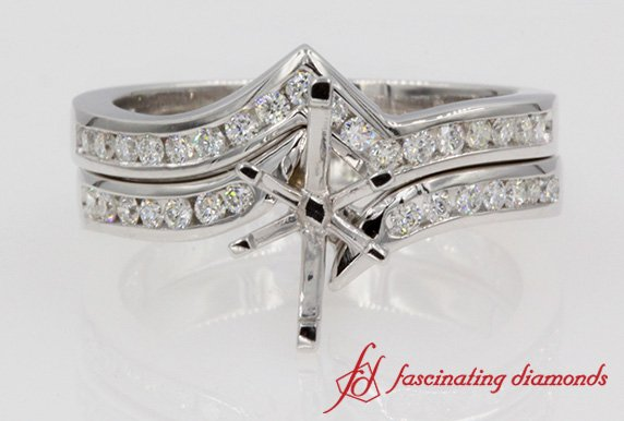 Twisted Diamond Wedding Set Mountings In White Gold