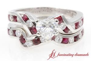 Twisted Heart Diamond With Ruby Bridal Set