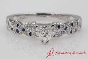 Twisted Heart Diamond Wedding Ring With Sapphire In Platinum