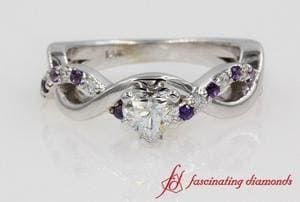 Twisted Heart Diamond With Purple Topaz Ring In White Gold