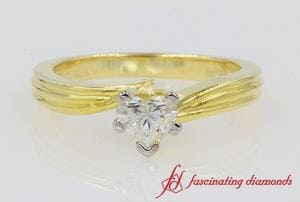Twisted Heart Solitaire Diamond Ring
