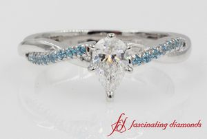 Twisted Pear Diamond Ring