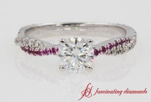 Twisted Pink Sapphire Round Diamond Ring In White Gold