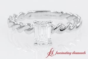 Twisted Rope Emerald Cut Diamond Ring