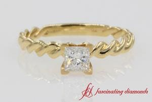 Twisted Rope Engagement Ring In Gold