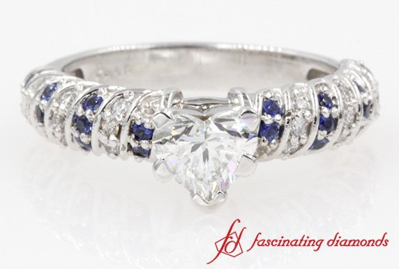 Twisted Rope Heart Diamond With Sapphire Engagement Ring