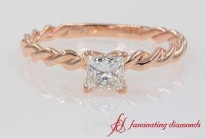 Twisted Rope Princess Cut Engagement Ring In 18k Rose Gold