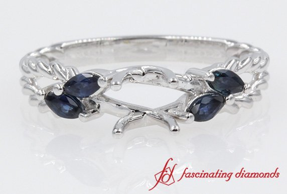 Twisted Rope With Sapphire Engagement Ring Settings