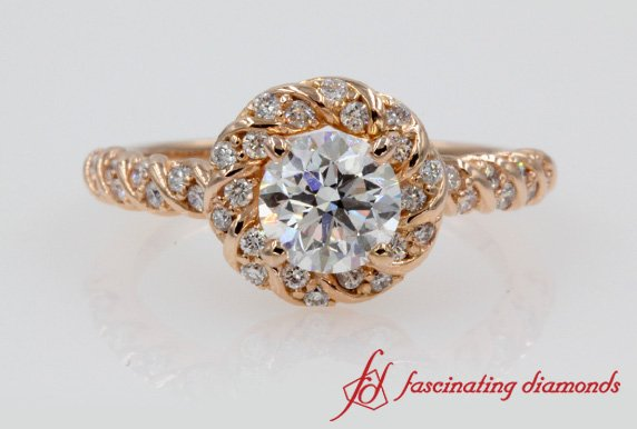 Twisted Round Diamond Halo Ring
