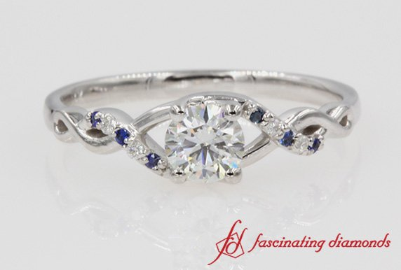 Twisted Shank Round Diamond & Sapphire Ring