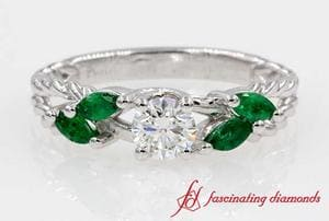 Twisted Split Diamond With Emerald Ring