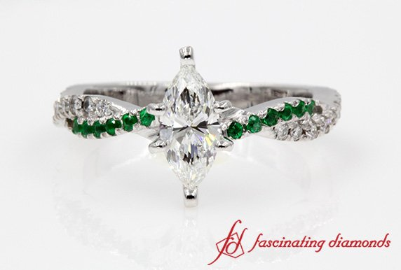 Twisted Vine Marquise Ring With Emerald