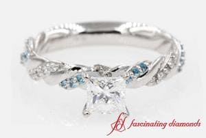 Twisted Vine Princess Cut Diamond Ring With Blue Topaz In Platinum