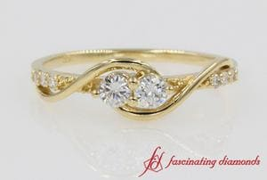 Two Stone Swirl Anniversary Band In Yellow Gold