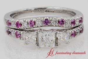 U Prong Diamond Wedding Set With Pink Sapphire In White Gold